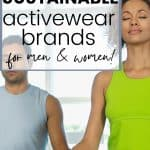 Man and woman meditating text overlay The Best Sustainable Activewear Brands