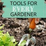 Person digging soil with cultivator with text overlay 10 Must-Have Tools for Every Gardener