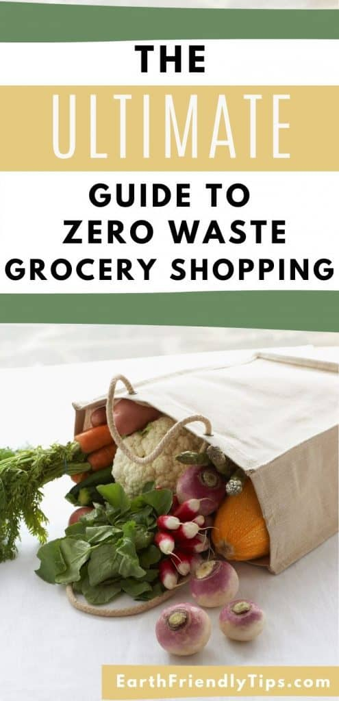 Fresh vegetables in canvas bag with text overlay The Ultimate Guide to Zero Waste Grocery Shopping