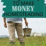 Man holding bucket and standing in front of sheep on farm with text overlay 60 Genius Ways to Make Money Homesteading