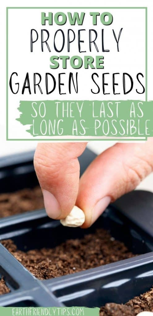 Hand placing seed in seed starter pot with text overlay How to Properly Store Garden Seeds