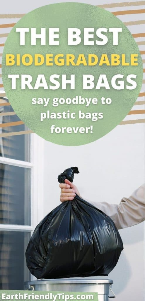 Man putting trash bag in trash can with text overlay The Best Biodegradable Trash Bags