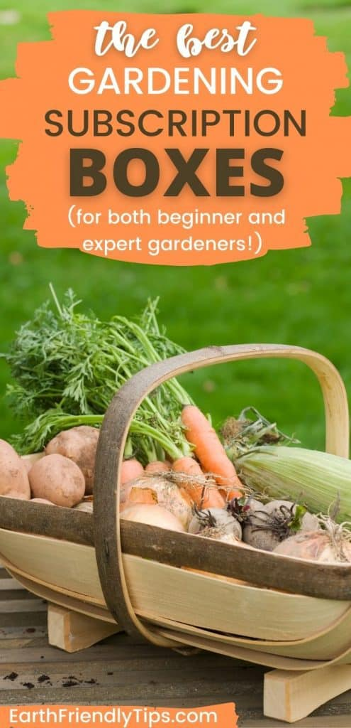 Basket of fresh garden vegetables with text overlay The Best Gardening Subscription Boxes