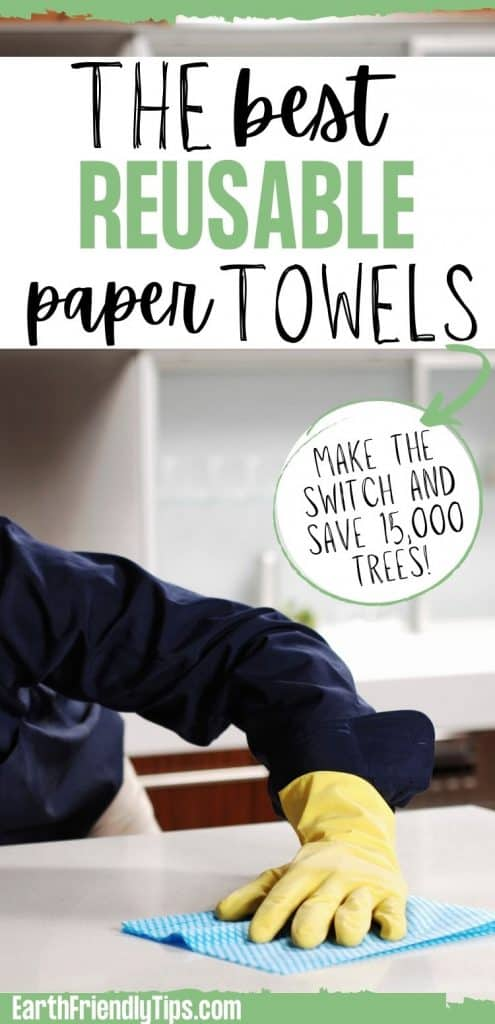 Man wiping counter with reusable paper towel with text overlay The Best Reusable Paper Towels