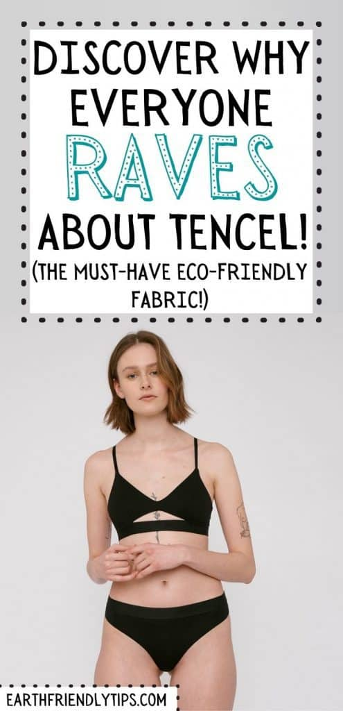 Model wearing black TENCEL undergarments on white background with text overlay Discover Why Everyone Raves About TENCEL