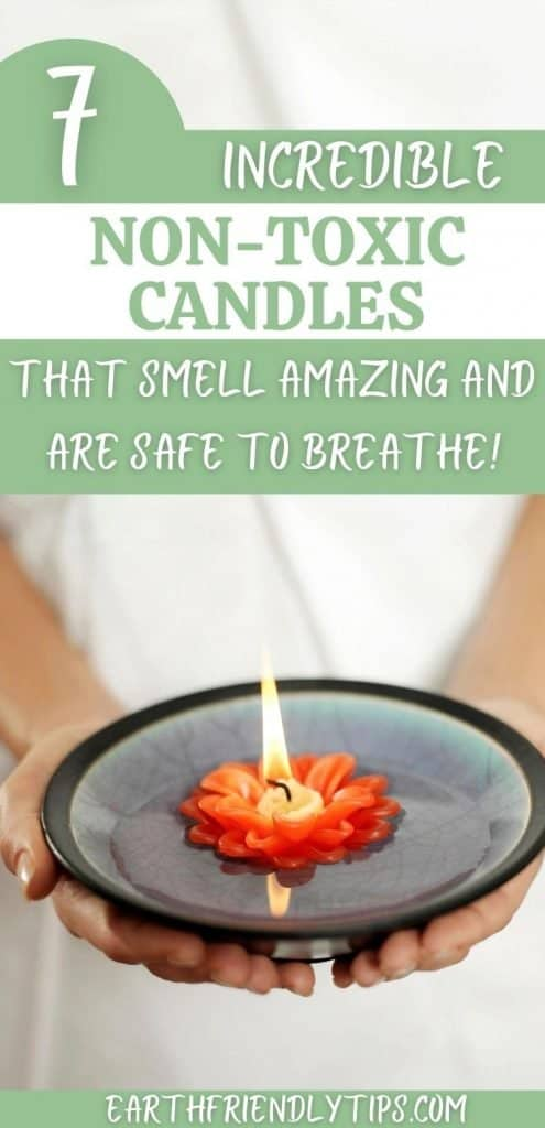 Picture of person holding flower candle floating in water with text overlay 7 Incredible Non-Toxic Candles