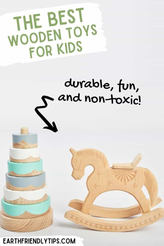 Picture of wooden baby toys with text overlay The Best Wooden Toys for Kids Durable, Fun, and Non-Toxic